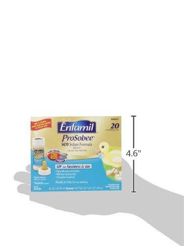 Enfamil  ProSobee Baby Formula - 2 fl oz Plastic Nursette Bottles, 6 Count (Pack of 8)