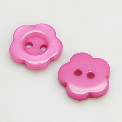 (PEPPERLONELY 78PC Hot Pink 2 Holes Flower Resin Buttons, 15x3mm(9/16x1/8 Inch))