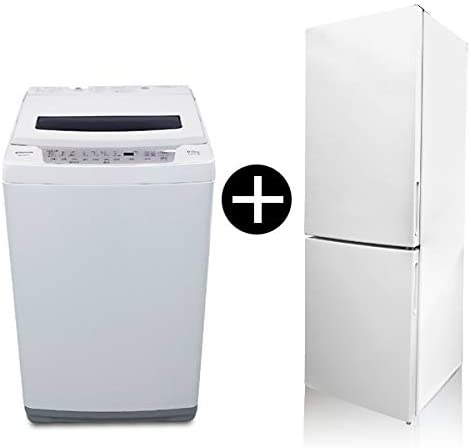 maxzen JR160ML01WH + JW80WP01WH 冷蔵庫 洗濯機セット [ホワイト 冷蔵庫 (157L・右開き) / ホワイト 全自動洗濯機 (8.0kg)]