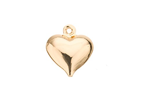 Puff Hallow Heart Charm Gold Finished Brass 13x11.5mm sold per pack of 30