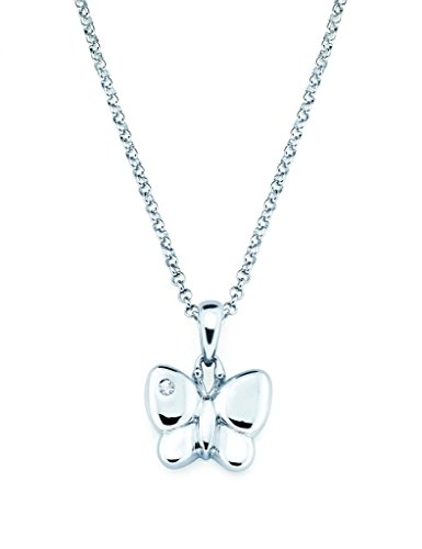 Little Diva Diamonds 925 Sterling Silver Diamond Accent Butterfly Pendant Necklace, 16