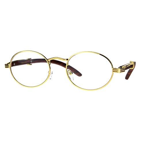 Mens OG 90s Hip Hop Rapper Luxury Metal Rim Victorian Eyeglasses Yellow - Glasses Og