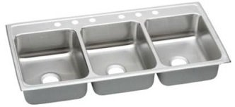 Elkay LTR542210 Gourmet Lustertone Commercial Sink, Top Mount, Triple Bowl, Sink Only, 54