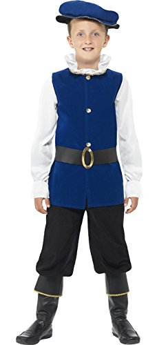 Book Week Costume For Kids (4 Piece Boys Blue Tudor Shakespeare Book Day Week Fancy Dress Costume Age 4-6)