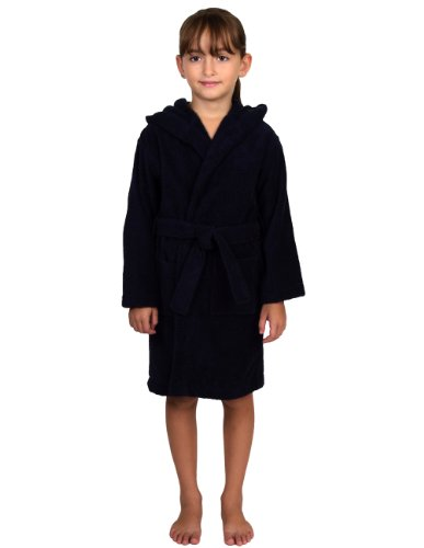TowelSelections Hooded Kids Bathrobe - Terry Cloth Robe for Boys and Girls, 100% Turkish Cotton, Made in Turkey, Navy, -