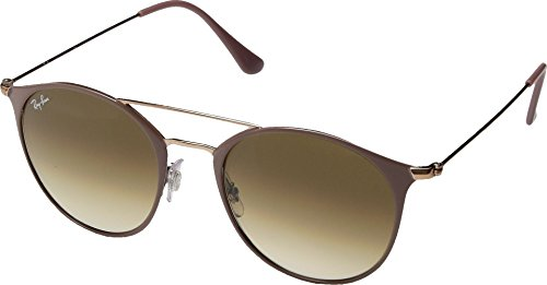 Ray-Ban 0rb354690715152steel Unisex Round Sunglasses, Copper Top on Beige, 51 - Ban Beige Ray Clubmaster