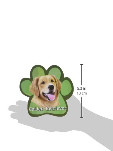 Golden Retriever Car Magnet With Unique Paw Shaped Design Measures 5.2 by 5.2 Inches Covered In UV Gloss For Weather Protection E/&S Imports 13125-15