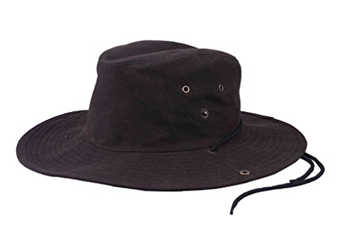Krumba Men's Cotton Brown Chin Cord Hunting Outdoor Oilskin Hat L/XL