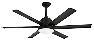 "TroposAir DC-6 Oil Rubbed Bronze Industrial Ceiling Fan with 52"" Extruded Aluminum Blades, Integrated Light, DC-Motor and Remote"