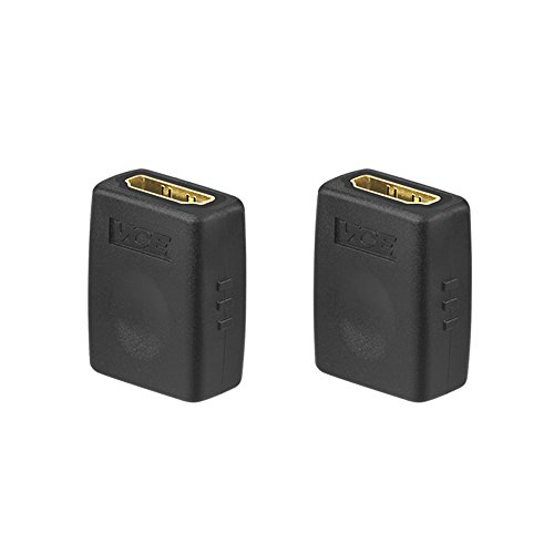 VCE (2 PACK) HDMI Female to Female Adapter Gold Plated High Speed HDMI Female Coupler 3D&4K Resolution (Hdmi Female Adapter Coupler)