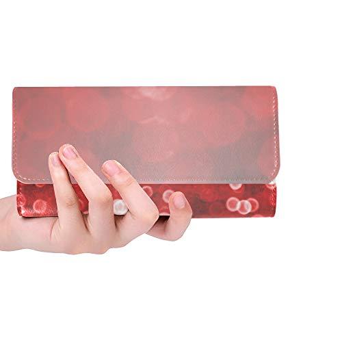 Sox Black Tri Fold Wallet - Unique Custom Abstract Dark Black Red Glitter Sparkle Confetti B Women Trifold Wallet Long Purse Credit Card Holder Case Handbag