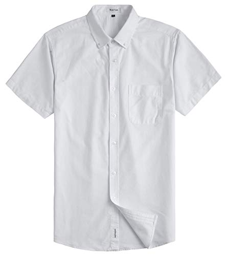 - MUSE FATH Men's Oxford Dress Shirt-Casual Short Sleeve Shirt-Interview Dress Shirt with Chest Pocket-White-M
