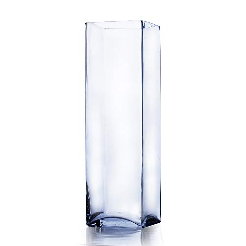 WGVI Clear Square Block Glass Vase/Candle Holder - 6