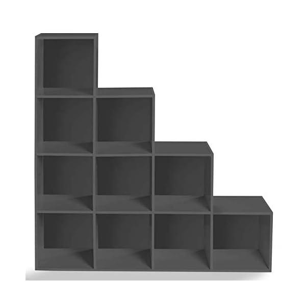 IDMarket – Meuble de Rangement en escalier Liam 4 Niveaux Bois Gris Fond Gris