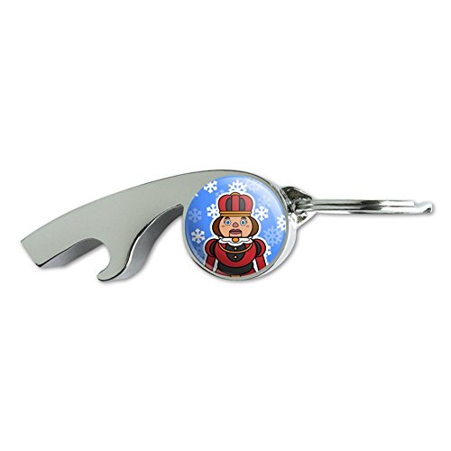 (Nutcracker Woman with Snowflakes Chrome Plated Metal Whistle Bottle Opener Keychain Key Ring)
