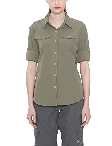 Hiking Clothing Travel Womens - Little Donkey Andy Women's Stretch Quick Dry Water Resistant Outdoor Shirts UPF50+ for Hiking, Travel,Camping Sage Size XL