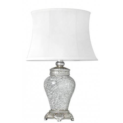 Retro Style 46cm Silver White Mosaic Table Bedside Lamp
