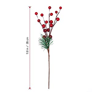 ULTNICE 10pcs Small Artificial Pine Picks Stimulation Berry Pine Needles Red Berry Flower Ornaments for Christmas Flower Arrangements Wreaths Holiday Decorations 2