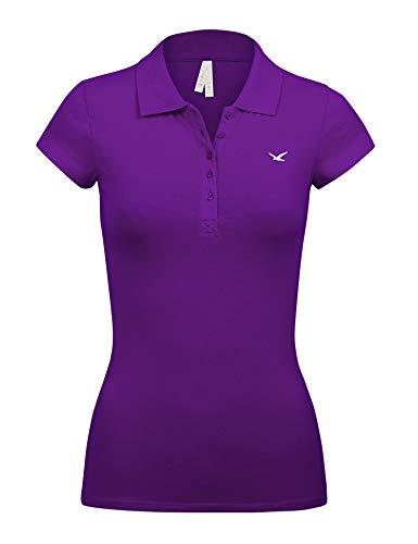 Short Sleeve Colour - Women's Short Sleeve Purple Color 5 Buttons Slim Fit Polo Shirts(3000-PURPLE-L)