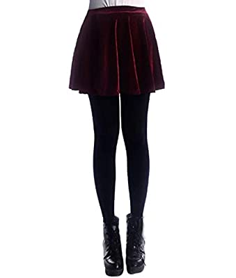 Daxvens Women's Vintage Velvet Stretchy Mini Flared Skater Skirt