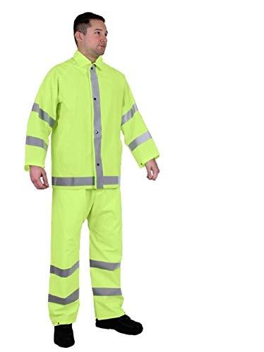 BlackC Sport Rainsuit Reflective Safety Green 2-Piece Waterproof Rain Wear