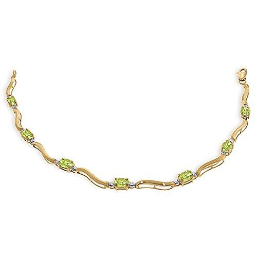 QP joailliers Bracelet en or 9ct péridot naturel, 2.0-Coupe ovale-4942y