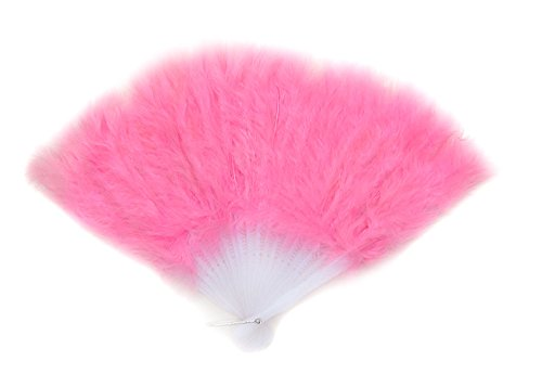 Pink Feather Hand Folding Fan for dance, decoration, halloween costume15x9.5inch