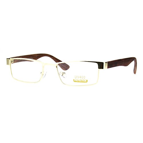 Small Size Clear Lens Eyeglasses Unisex Rectangle Glasses Gold, Medium - Rectangle Glasses Gold