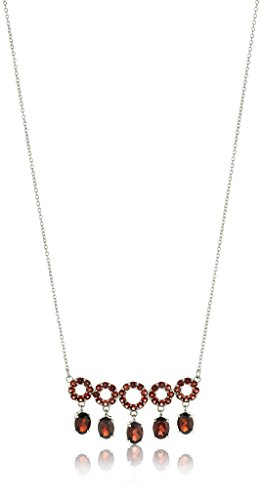 Sterling Silver Red Garnet Circle Cable Chain Necklace, 17 3 Extender