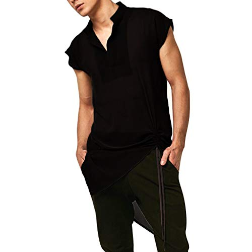 Luca Mens Casual V Neck Cotton Short Sleeve Black Medieval Shirt Top Fancy Dress Costume Vintage Blouse