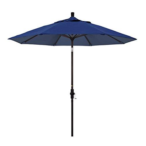 California Umbrella 9' Round Aluminum Market Umbrella, Crank Lift, Collar Tilt, Bronze Pole, Sunbrella Navy ()