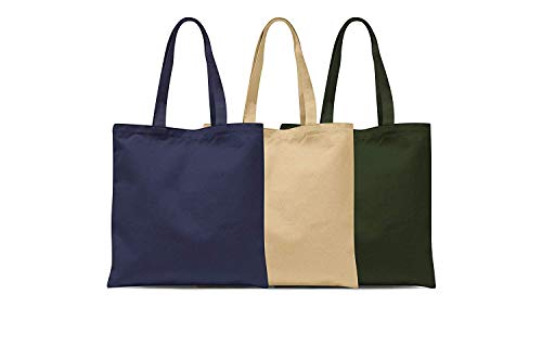 Eco Friendly Reusable Duck Canvas Tote Bag (Set of 3: Navy Blue, Beige, Olive) - 100% Natural Cotton Shoulder Hand Bag For School Work Travel Shopping Beach Grocery Stylish Casual Totes