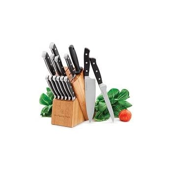Amazon.com: Wolfgang Puck 15 Piece Cutlery SET: Block Knife Sets ...