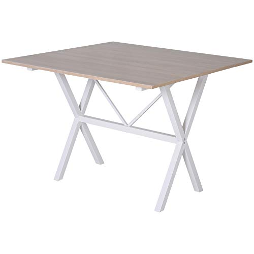 """HOMCOM Drop Leaf Folding 6-Person 3-Stage Versatile Dining Table, 43"""" L (Fully Extended), Oak Top"""