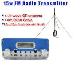 GOWE 15 W Transmisor FM estéreo PLL locutor antena KIT de ...