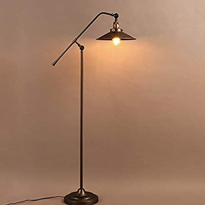DEED Floor Lamp-Led Creative Vintage Iron Art Floor Lamp,American Style Village Industrial Floor Lamp Living Room Bedroom Study Cafe Decoration Table Lamp Eye Protection Vertical Table Lamp