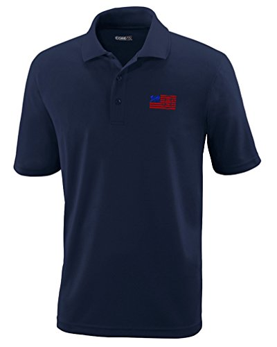 Speedy Pros Firefighter American Flag Embroidery Performance Polo Shirt Golf Shirt - Navy, 2X Large