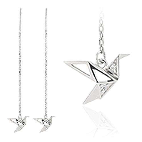 OwMell 925 Sterling Silver Paper Crane Threader Earrings, Long Chain CZ Dangle Drop Earring