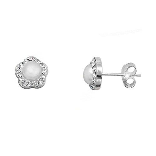Boucled'oreille plaqué argent 925m perle bouton central de la fleur [9365]