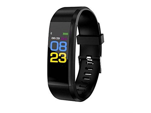 JxucTo Freundlich Einstellbare Farbe Bildschirm Smart Armband Uhr Pulsmesser Schlaf Schrittzä hler Fitness Tracker (Schwarz)