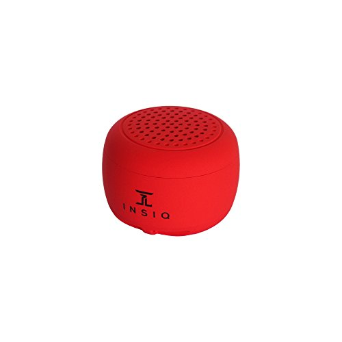 (World's Smallest Portable Bluetooth Speaker - Great Audio Quality for its Size - 30+ Feet Range - Photo Selfie Button Answer Phone Calls Compact Compatible with Latest Phone Software (Red))