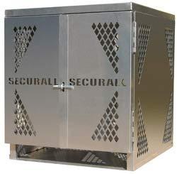 Oxygen Gas Cylinder Cabinet - Securall LP4-VERTICAL 4 Cyl. Vertical Standard Door for Aluminum Cabinet for Storing LP & Oxygen Gas Cylinders