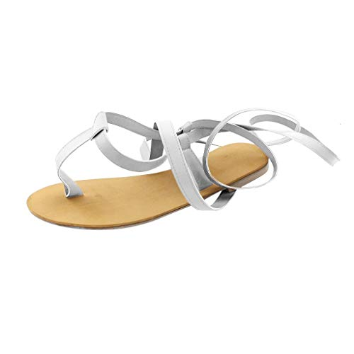 Roman Sandals for Women Knee High,SMALLE◕‿◕ Women's Flat Wedge Sandals Summer Open-Toe Gladiator Sandal Strappy Shoes Silver