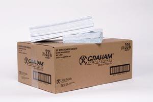 Graham Medical 331 Premium Flat Stretcher Sheet, Scrim Tissue, Medium Weight, 40'' Width, 96'' Length, Blue (Pack of 25)