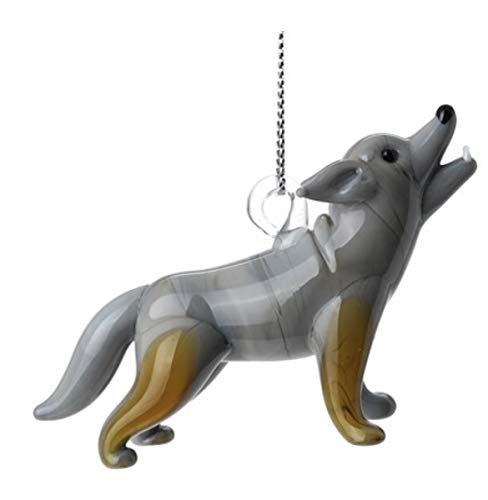 Dynasty Gallery Hand Crafted Glass Christmas Tree Ornament or Figurine Wolf