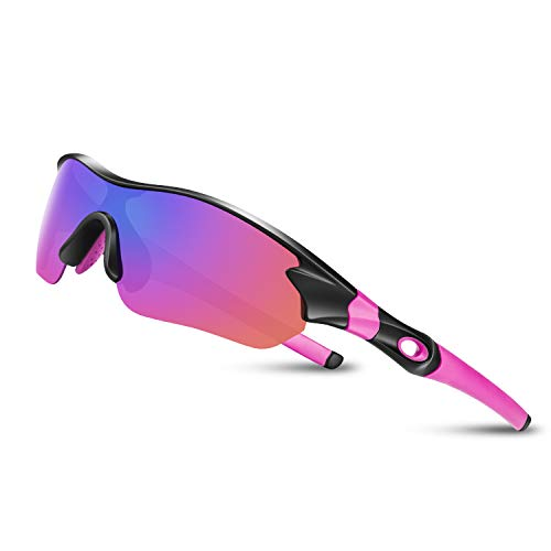Motorcycle Sports Sunglasses - Polarized Sunglasses for Men Women Youth Sports Baseball Running Fishing Safety Military Motorcycle Tac ... (Pink)