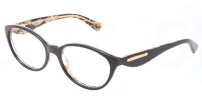 Dolce & Gabbana DG3173 Eyeglasses-2744 Top Black On Leaf Gold-53mm by Dolce e Gabbana