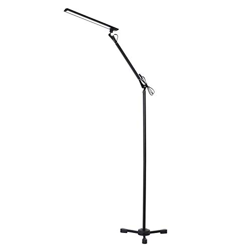 ROZKY Architect Drafting Adjustable Metal Swing Arm Floor Lamp,LED Reading Light and Craft Floor Lamp,Touch Control,Dimmable Eye-Care Standing Lamp for Living Room, Bedroom,Office Studio,Black