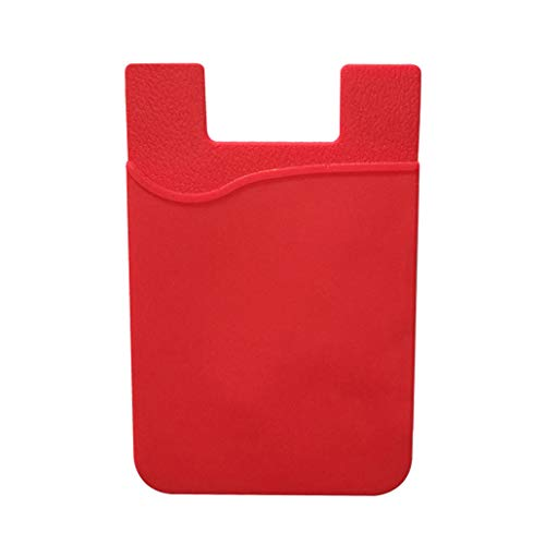 Card Holder – Smart Silicone Wallet Card Stick On Cash Credit Card Pouch Mobile Phone Accessories – Red collectsound