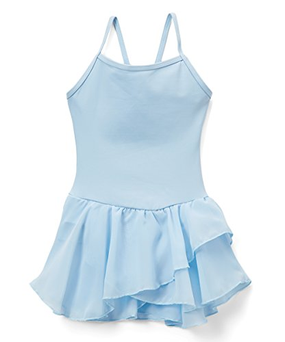 Elowel Kids Girls Basic Skirted Camisole Leotard Light Blue Size 4-6 by Elowel